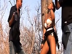 Awesome outdoors black threesome