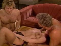 Randy enjoys threesome vintage orgy