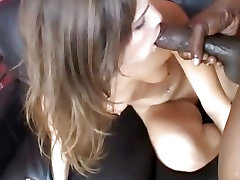 Hot Amber Rayne gets deep throated by a huge black dick