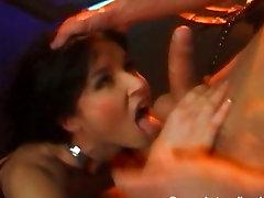 Katsumi asian lesbian dildo drilling a hot babe