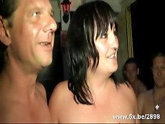Mature gangbanged in a Sauna club