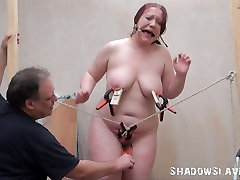 Bizarre fat slave punishment and homemade tools bdsm