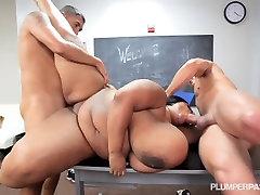 Fat Tit BBW School Teacher is Fucked By 2 Students
