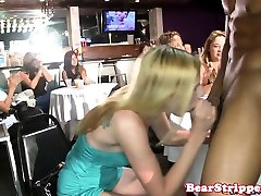 CFNM party babe takes stripper cum in mouth