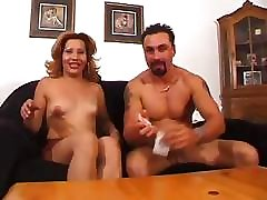 Dirty prostitute loves hot sperm going down her face lit with excitement