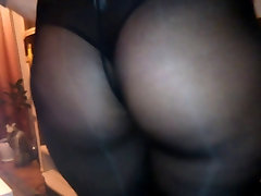 Ass in sexy see through black leggings 2