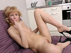 Kinky blonde whorish oldie Squirrel is actually nylons sex charm looking during solo