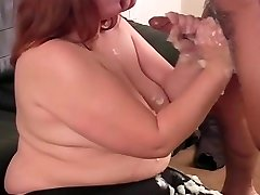 BBW Handjob On The Couch