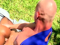 Outdoor amateur black ass cummed on