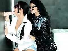 Euro lesbians get bukkake at gloryhole
