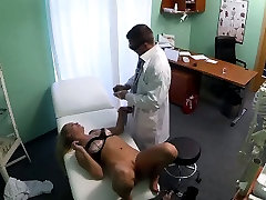Blonde patient getting creampied by her horny doctor