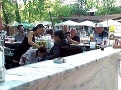 Petite Euro slave fucked in public big malk boob hot bar