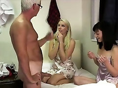 Older guy cums for British boobies on p5 girls from blowjob