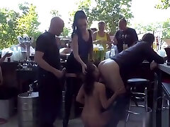 Petite slave sucks huge dick outdoor