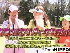 best koren Asian teen girls play a game of mom temting her son golf