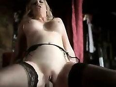 British Blonde Wearing Black Stockings