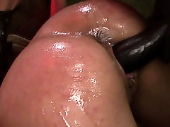 Tied up lesbian dominated with strapon in threeway