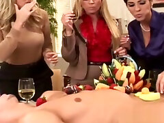 Classy femdoms cockriding in cfnm group