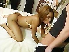 Sexy ebony lady rides a white cock