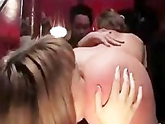 Gagged babe fucked with strapon dildo in queer bar