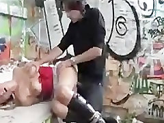 Bound babe fucked outdoor by big cocked guy