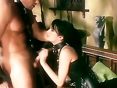 Brunette fucking and deepthroating in leather boots and stockings