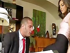 Young natural-tit brunette secretary fucks her boss in the office