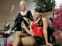 Three nasty dominatrix ladies torturing their male sex slave in s