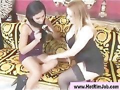 Glamorous rimjob loving lesbians get hot
