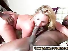 Cougar gets interracial big cock