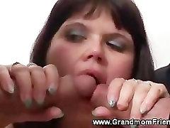Horny studs fondling on chubby mature