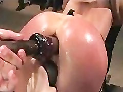 Bound babe fucked by dicks and toys in public