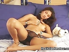 Teen asian shoves a huge dildo into her part3