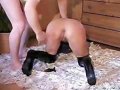 German Blonde Milf Squirts After Anal Sex