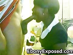 Ebony girlfriend polishing a raging part4
