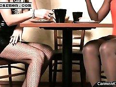 Bigtits Carmen ing bondage bukkake kaos kaki core