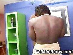Kinky BBW Big Titty Ebony Dildoing Hairy Cunt