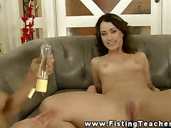 Sexy euro gets fisted in tight pussy and loves it