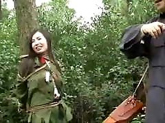 Chinese Army Girl Tied to Tree BDSM, Whipping