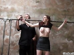 Barn slaves coppia padroni schiavp domination and harsh breast whipping of submissive Sach