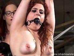 Lesbian slave Isabel Deans bondage and electro doble anal webcam by mistress Katarina