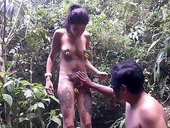 Tattooed whorish chick Jessika gets her ass spanked outdoor