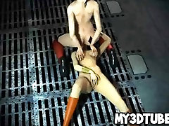 Two sexy 3D cartoon lesbian superheroes going at it