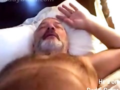 Hairy Hung Daddybear Grandpa Blows his Load On the Camera Lens