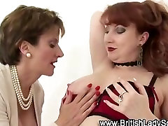 Mature Hotties Lady Sonia and British Red Licking and Fingering.
