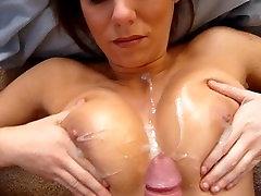 HUGE cumshot on Amateur BIG natural tits!