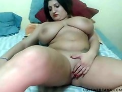 Big titted plumper plays with herself in front of cam