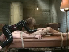 Man sex slave tied roughly and abused in extreme female dominatio