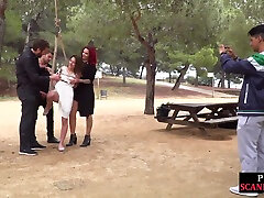 Public bdsm sub getting canned and humiliated outdoors