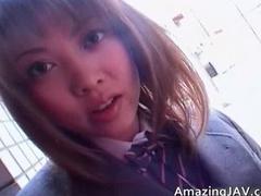 Cute asian schoolgirl sucking cock part1